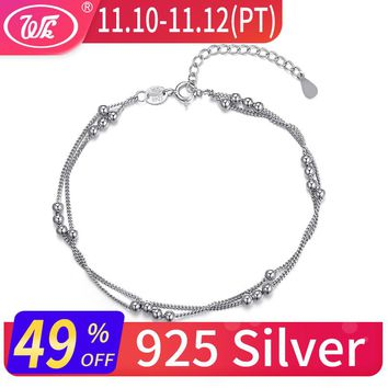 WK Real Pure 925 Sterling Silver Bracelet Chain With Ball Beads Bracelets For Women Girls Ladies Trendy Pulseras Mujer EW BA002