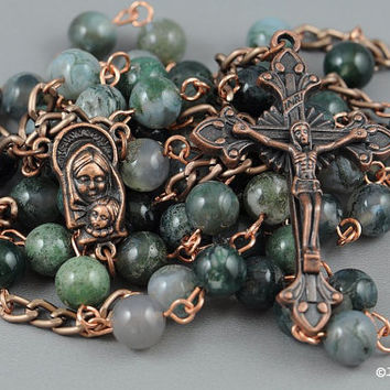 Wire Wrapped Rosary Moss Agate Copper Rustic Catholic