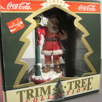 "Coca Cola ""Santa with Lamp Post"" Christmas Ornament // Trim A Tree Collection // Vintage Coke"