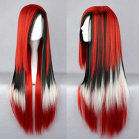 11 Colors 70cm Straight Hair Ombre Wig Cosplay Black White Red Synthetic Hair Wigs Peruca Cosplay