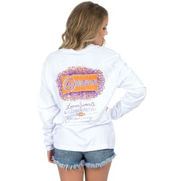 Clemson Perfect Pairing Long Sleeve Tee in White by Lauren James - FINAL SALE