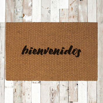 Bienvenidos Hand Painted Coir Doormat, Decorative Area Rug, Welcome Mat Housewarming Gift