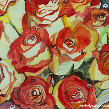 Red and Yellow Roses Watercolor Print. Romantic decor. Gift for her. Flower picture. Floral artwork. Bouquet painting. Rose wall art.