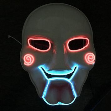 Horrible LED Mask Saw Chainsaw Killer Mask Creepy Halloween Costume Clown Doll