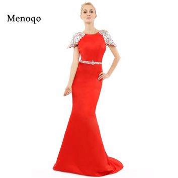 Vestidos de festa Abendkleider Mermaid Cap sleeve Beaded Low back New Fashion Red Evening Dress Real Photo Elegant Prom Dresses