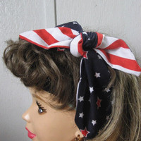 Ladies Hair Bandana, 4th of July, STARS,  Bandana, Patriotic, Pin-up, BANDANA, Retro Style, BigBow Hairband, Hair Scarf ,4th of July  #380