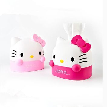 Cute Box Hello Kitty Tissue Box Tissue Canister Toilet Paper Holder Home Decoration Accessories