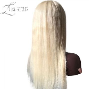 Luxurious Lace Front Human Hair Wigs For Black/White Women Straight Brazilian Remy Human Hair blond #613 With Transparent Lace
