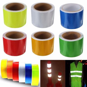1pc Safety Caution Reflective Tape Warning Tape Self Adhesive Sticker Tapes 5x100cm 6 Colors For Car Styling Decorations