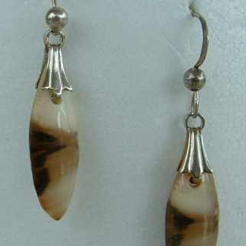 Picture Jasper Dangle Earrings Elongated Cabochon Gemstone Jewelry