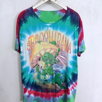 Shroomarama Magic Mushroom shirt 1991 vintage t shirt alien tie dye tshirt 90s grunge clothing hippie clothes psychedelic drug hippy tee