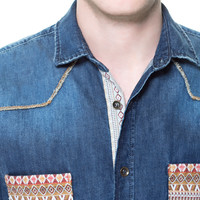 DENIM SHIRT WITH ETHNIC PATTERN POCKET - Casual - Shirts - Man - ZARA United States