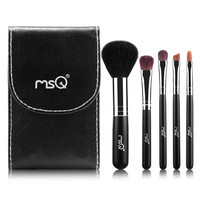 Cosmetic 5 Pcs Wool Horsehair Makeup Brushes Set with Bag and Mirror