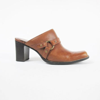 90s Southwestern Clogs Cowboy Mules Brown Leather Slip On Shoes Country Western Harness Strap Low Chunky Heels Square Toe Shoes Size 8