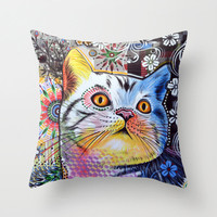 "Decorative throw pillows cover gift for cat person ...from my original painting, ""Chloe""...16"" x 16"""