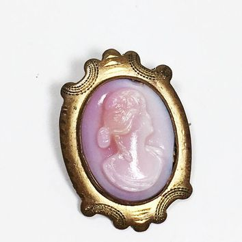Antique Pink Glass Cameo C Catch Gold Tone Brass Tone Oval Frame Woman Profile Brooch Pin 1800's