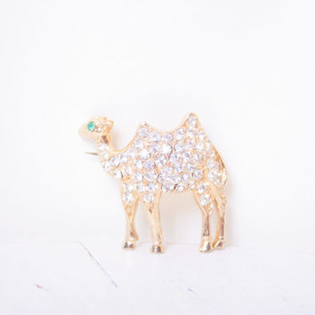 REDUCED - Camel Brooch with Rhinestones