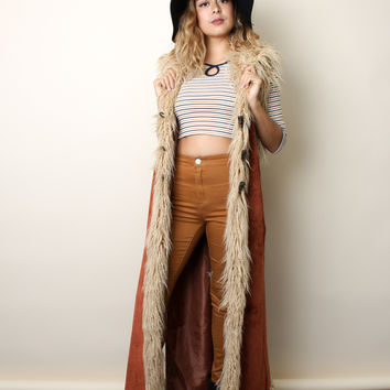 Faux Suede Toggle Vest