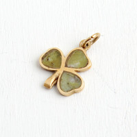 Vintage 9k Yellow Gold Connemara Marble Shamrock Clover Pendant- Dated 1953 Dublin Ireland Fine Necklace Good Luck Jewelry
