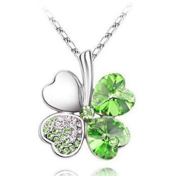 Four Leaf Clover Pendant Necklace With Austrian Crystals In Either A Gold Or Silver Setting