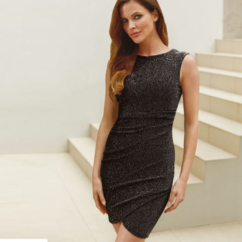 Grey Asymmetrical Sleeveless Bodycon Pencil Dress