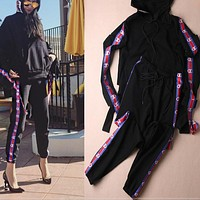 Champion Casual Pullover Hoodie Sweater Pants Trousers Set Two-Piece Black