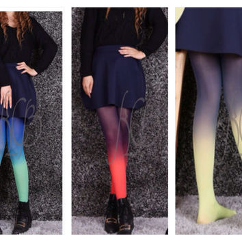 Ombré Leggings, Funky Tights, Fashion Tights, Opaque Tights, Pantyhose, Tights, Colorful Tights, Leg Warmers
