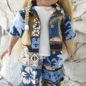 """3 piece blue/beige/ivory Hawaiian Tiki print pant outfit for an 18"""" doll."""