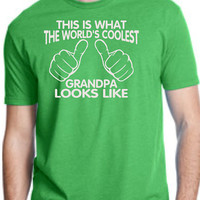 WORLD'S COOLEST GRANDPA This is what the world's coolest grandpa looks like mens T-shirt shirt tshirt gift Father's Day gift