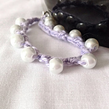 Cotton and glass beaded crocheted bracelet wedding anniversary gift custom made