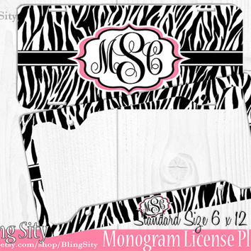 Zebra Monogram License Plate Frame Holder Cheetah Animal Print Pattern Personalized Custom Vanity