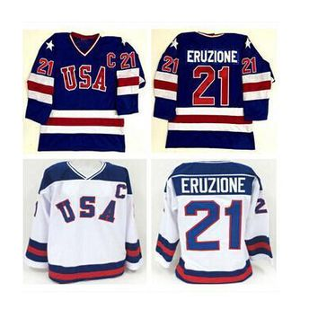 Top quality #21 Mike Eruzione 1980 Miracle On Ice Jersey USA Olympic Ice Hockey White Navy blue Stitched Customized Jerseys Free shipping