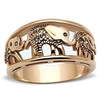Rose Gold Citrine Crystal Lucky Elephant Stainless Steel Ring