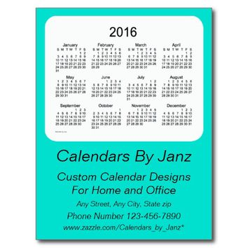 2016 Turquoise Business Calendar by Janz Postcard