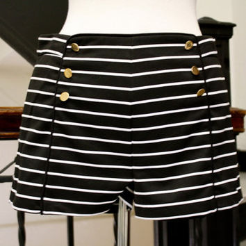 Sale. Sailor. Nautical. High-waisted shorts. Black and white striped. Gold buttons. Size Medium