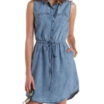 Denim Sleeveless Denim Shirt Dress by Charlotte Russe