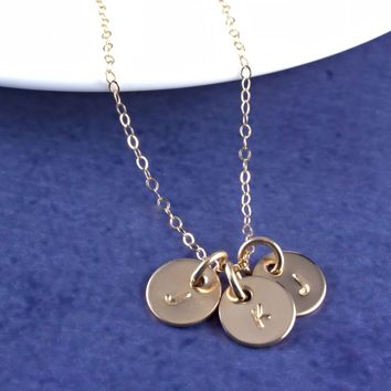 Gold Filled Tiny Initials Necklace