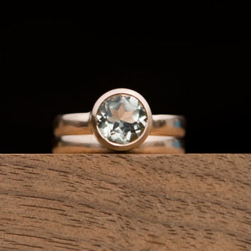 Rose Gold Wedding Band Set - Green Amethyst Engagement Ring and Wedding Band - Amethyst Set in 18k Rose Gold - Made to Order - Free Shipping