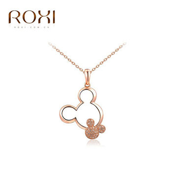 ROXI New Fashion Jewelry Rose Gold Plated Statement Cute Mickey Necklace For Women Party Wedding Free Shipping