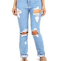 Slim Ruin Girlfriend Jeans