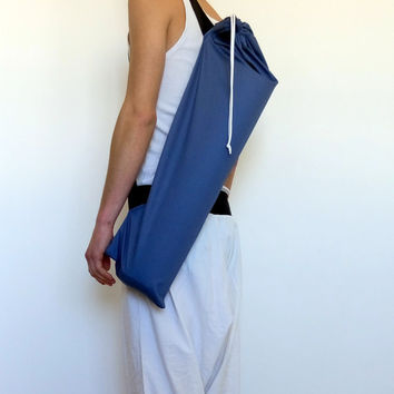Blue / Gray Yoga / Pliates Mat bag 100% Cotton Drill