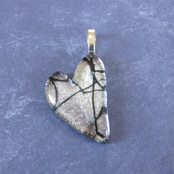 Silver Heart, Dichroic Glass Pendant, Black Tie Affair, Love Jewelry, Artisan Jewelry  - Desire's Fancy - 4065 -3