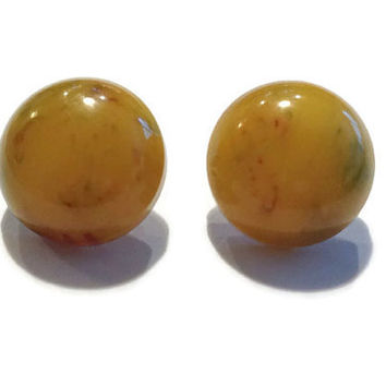 1940s Earrings / Vintage End of Day Bakelite Pierced Earrings, Button Earrings, Butterscotch Bakelite