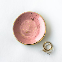 "Pink and Gold ""Splatter Paint"" Ring Dish"
