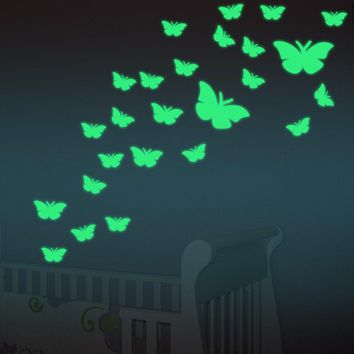 12PCS Luminous Fluorescent Wall Stickers Butterfly Decal Baby Kids Bedroom Home Decor