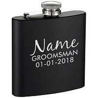 Personalized Wedding Groomsman Etched Black 6oz Drinking Flask