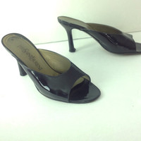 YSL Black Patent Leather Slides Sandals Yves Saint Laurent Shoes Sexy Black Party Shoes size 7 7M