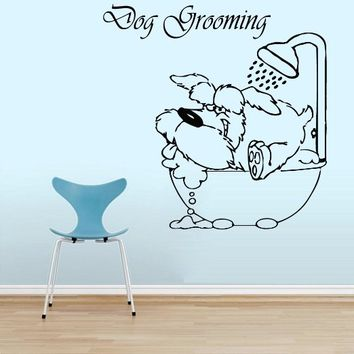 Wall Decals Quote Pet Grooming Decal Dog Bathroom Shower Foam Vinyl Sticker Pet-Shop Grooming Salon Home Decor Art Mural Ms273