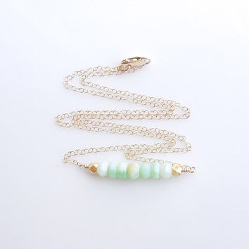 Peruvian Opal Necklace in Gold