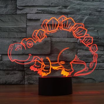 3D Illusion Night Light  LED Light 7 Color with Touch Switch USB Cable Nice Gift Home Office Decorations,Dinosaur-6